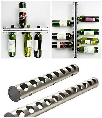 New Stainless Steel Bar Wine Rack Wine Shelf Wall Mounted Holder 12 / 8 Bottles