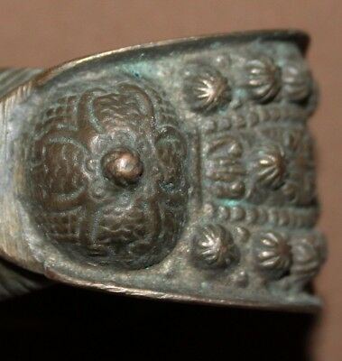 Antique Greek Hand Made Bronze Fertility Crusader Bracelet