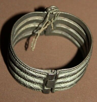 Antique Greek Folk ornate floral Silver Hinged Bracelet