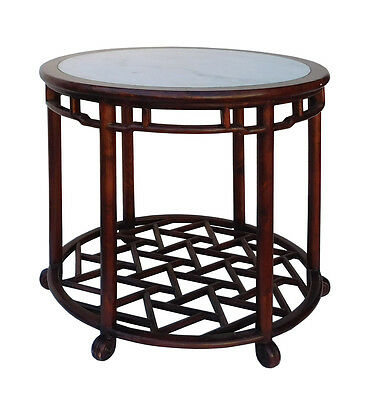 Chinese Oriental Brown Round Marble Stone Top Pedestal Table cs2119 2
