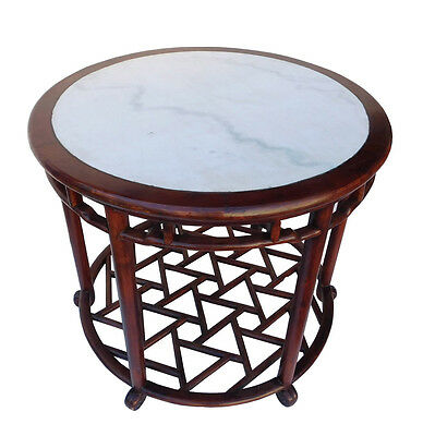 Chinese Oriental Brown Round Marble Stone Top Pedestal Table cs2119 3