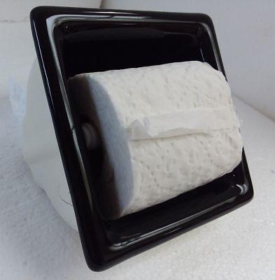 Recessed Black Ceramic Toilet Paper Tp Holder Mid Century Modern Vintage Retro 59 99 Picclick