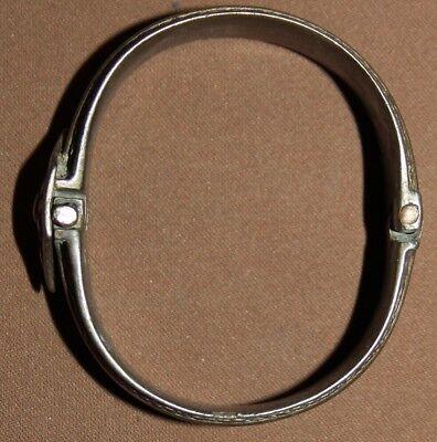 Antique Greek folk silver hinged cuff bracelet 5