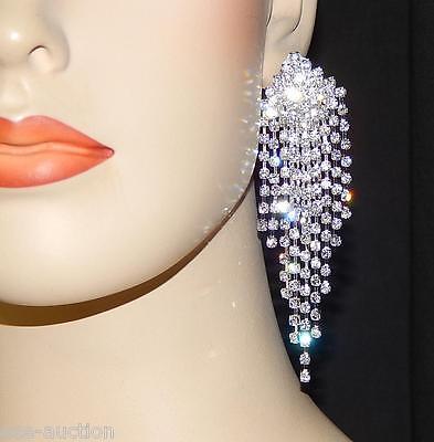 5 Of 7 Wedding Bridal Silver Clear Rhinestone Chandelier 4 Long Clip Earrings 42