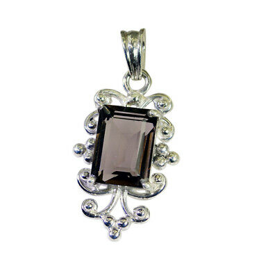 appealing Smoky Quartz 925 Sterling Silver Brown Pendant genuine gemstone US 3
