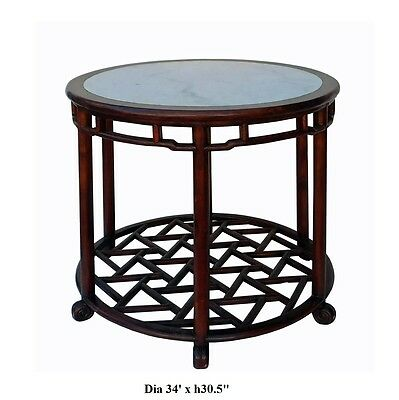 Chinese Oriental Brown Round Marble Stone Top Pedestal Table cs2119 7