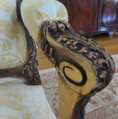 A SET OF FOUR SENSATIONAL French Louis XV Style (19th Cent) Gilt Armchairs 6
