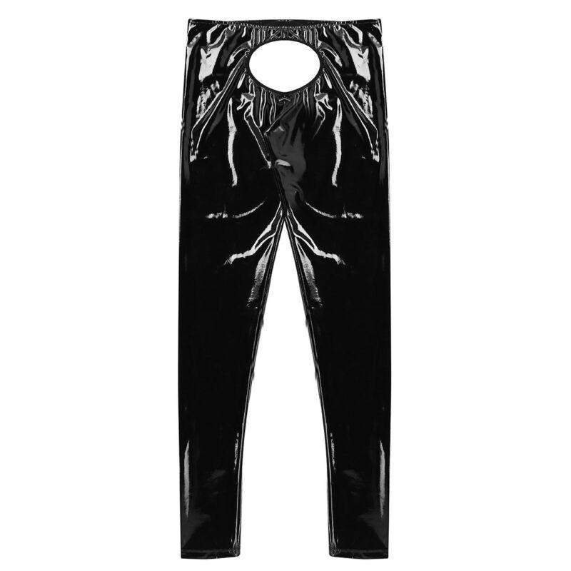 Herren Strumpfhose Lack Leder Leggings Lange Hose Tights Wetlook Unterwäsche 4