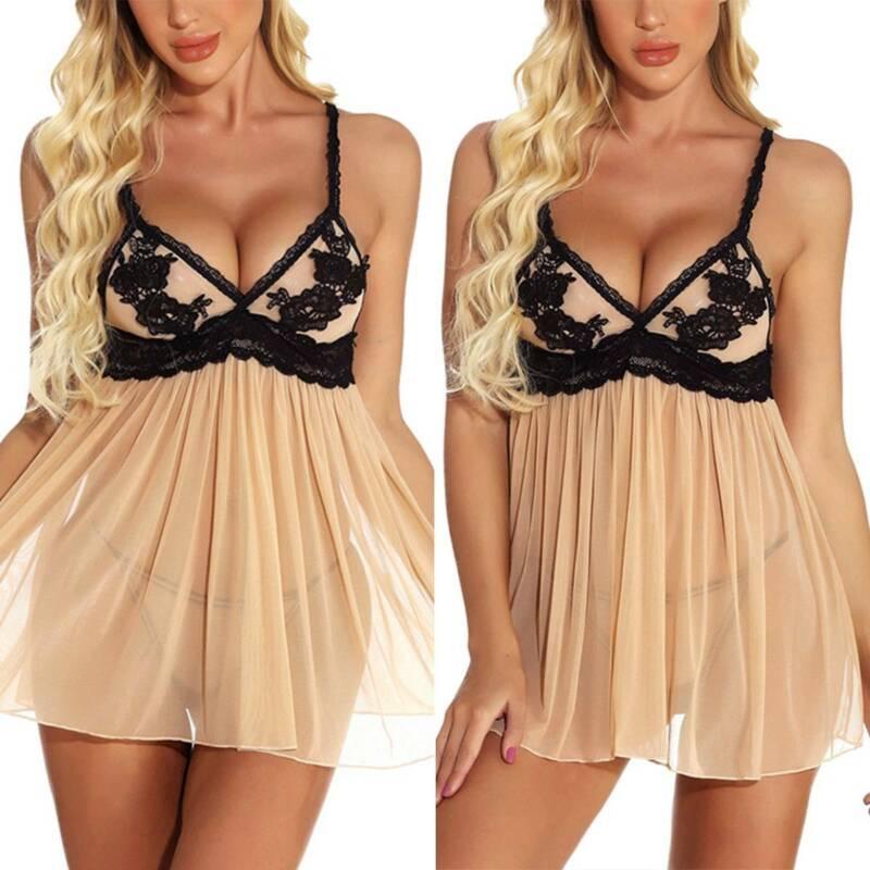 Women Sexy Lace Lingerie Dress G-String Thong Robe Babydoll Sleepwear Nightwear 6
