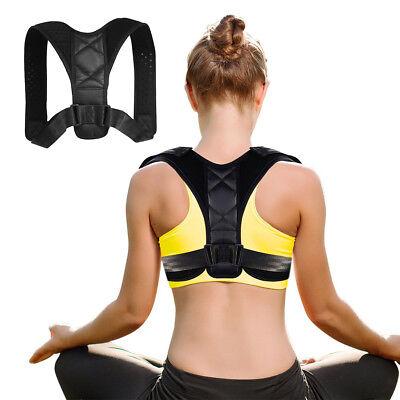 Back Brace Posture Corrector Adjustable Lumbar Support Therapy Shoulder Belt UK 4