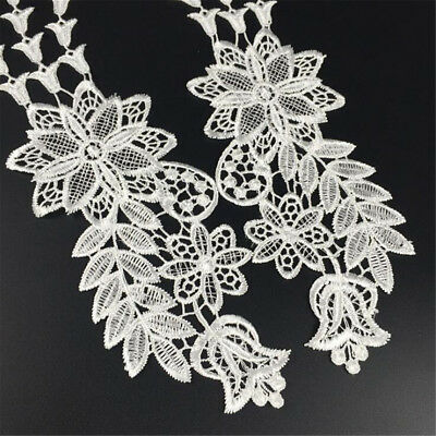 1 Pair Embroidery DIY Lace Applique Sewing Wedding Dress Trim Craft Patch Decor 11