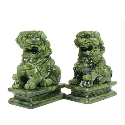 1 Pair China Green Jade Carved Fengshui Foo Fu Dog Guard Door Lion Home Decor 2