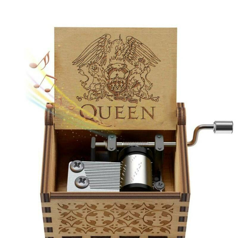 Hand Crank Wooden Engraved Queen Music Box Kids Christmas Gift 64*52mm 4