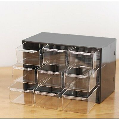2 of 6 mini diy 9 drawer box organiser jewelry storage office home store toys plastic