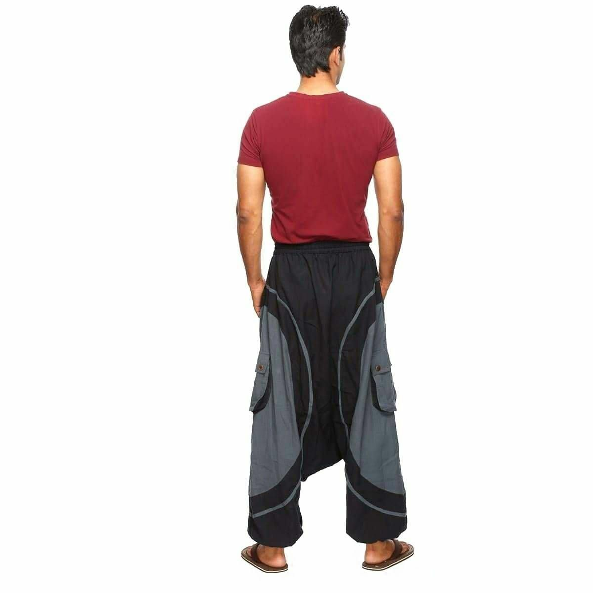 Pantaloni cavallo basso harem pantaloni cotone sarouel singharaja Uomo