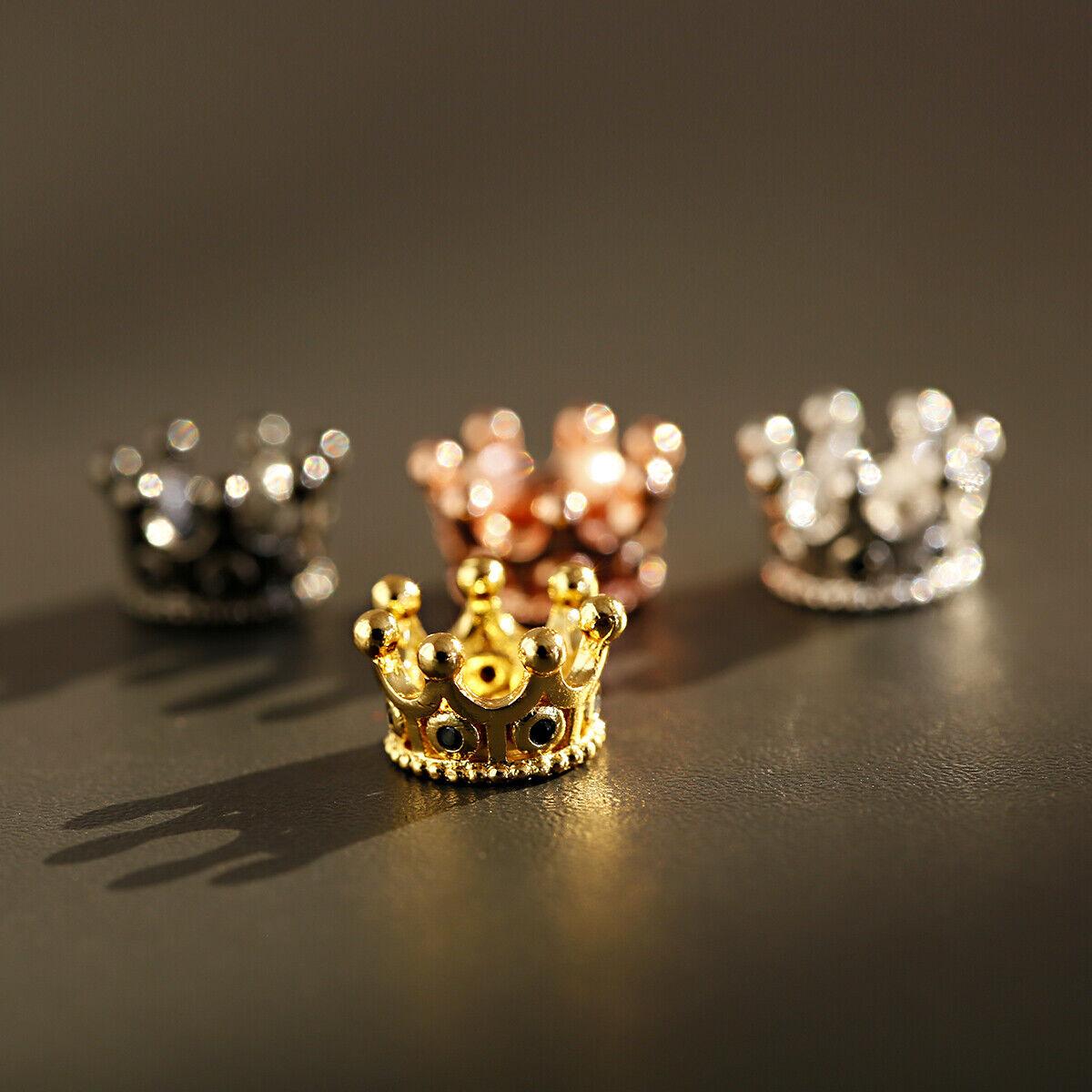 Zircon Gemstones Pave Queen Crown Bracelet Brass Copper Connector Charm Beads 5