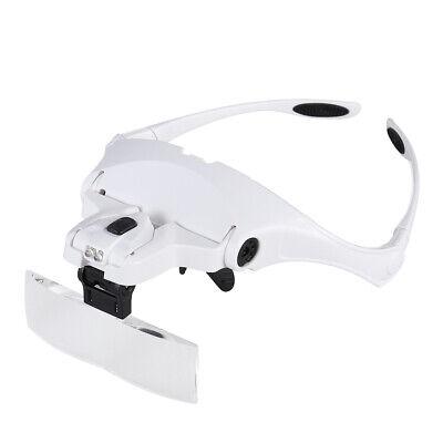 Occhiali con Lente di Ingrandimento 5 Lenti e Luci LED per Lavoro di Precisione 10