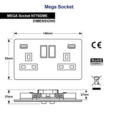 Double Wall Plug Socket 2 Gang 13A with 2 USB Ports Screwless Slim Flat Plate 5