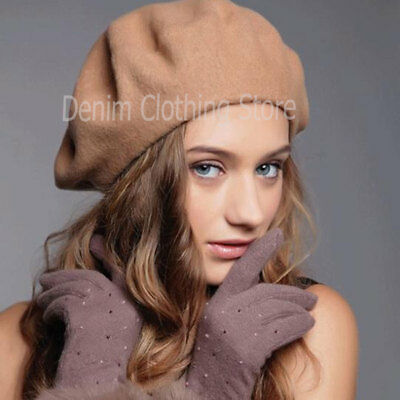 Women's Girl 100% Wool Warm Winter Baggy Classic French Fluffy Beanie Beret Hat 4