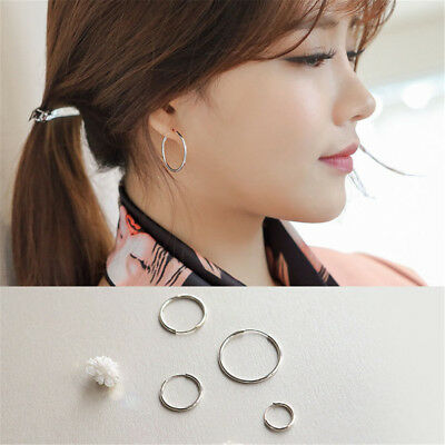 Chic Small Endless Hoop Lip Nose Ear Studs 8/10/14mm 925 Silver Earring New Gift 2