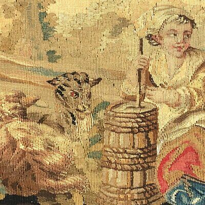 """RARE 55.5"""" Long Antique French Aubusson Tapestry Fragment, Sofa Panel, Figural 6"""