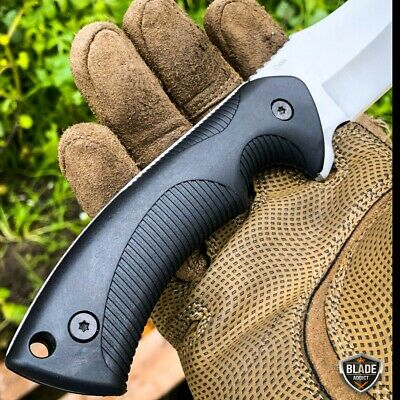"9"" Tactical Hunting Fixed Blade Survival Camping Knife Full Tang w/ Hard Sheath 8"