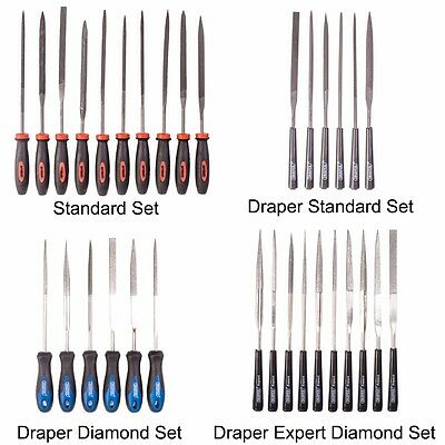 TRADE QUALITY PRECISION NEEDLE FILE SETS Grip Handles Models Jewellers Abrasive