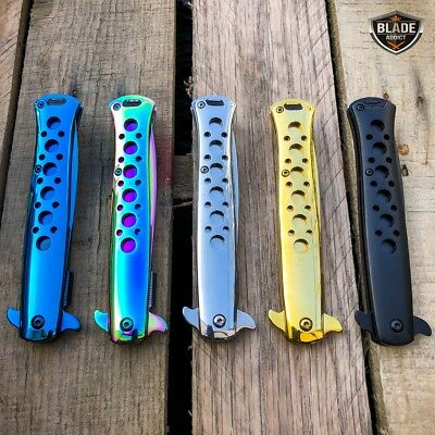 """9"""" SPRING ASSISTED TACTICAL STILETTO Folding POCKET KNIFE Blade Open Stainless 8"""