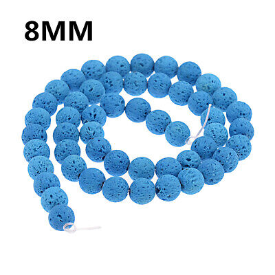 Dyed Volcanic Lava Rock Gemstone Beads Natural Stone Round 8mm Loose DIY Beads 7