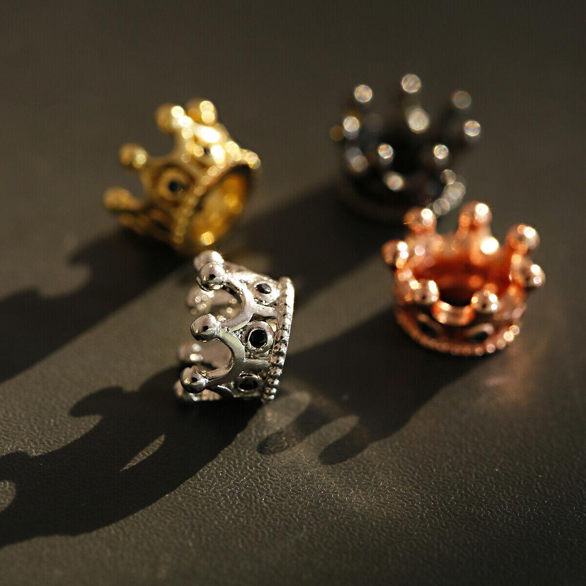 Zircon Gemstones Pave Queen Crown Bracelet Brass Copper Connector Charm Beads 4