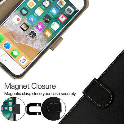 Case for iPhone 6 7 8 5S PLUS XR XS MAX Cover Real Genuine Leather Flip Wallet 9