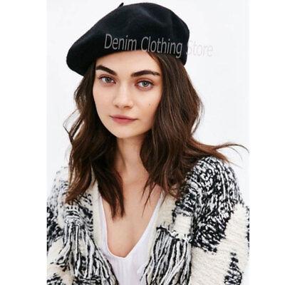 ad44b06e0d58d ... 9 Women s Girl 100% Wool Warm Winter Baggy Classic French Fluffy Beanie  Beret Hat 6