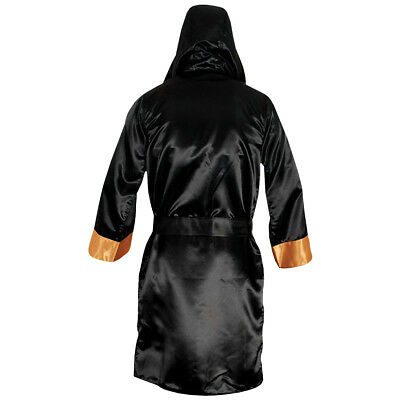 9897e74cec CLETO REYES SATIN Boxing Robe with Hood - Black Gold -  54.50