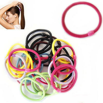 10 Thick Hair Bands MIX Colour Tight Ponytail Elastic Stretchy Bobbles Pack 3