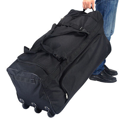"36"" Rolling Wheeled Tote Duffle Bag Luggage Travel Duffle Suitcase Black New 3"