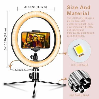 """10"""" LED Ring Light with Stand for Youtube Tiktok Makeup Video Live Phone Selfie 3"""