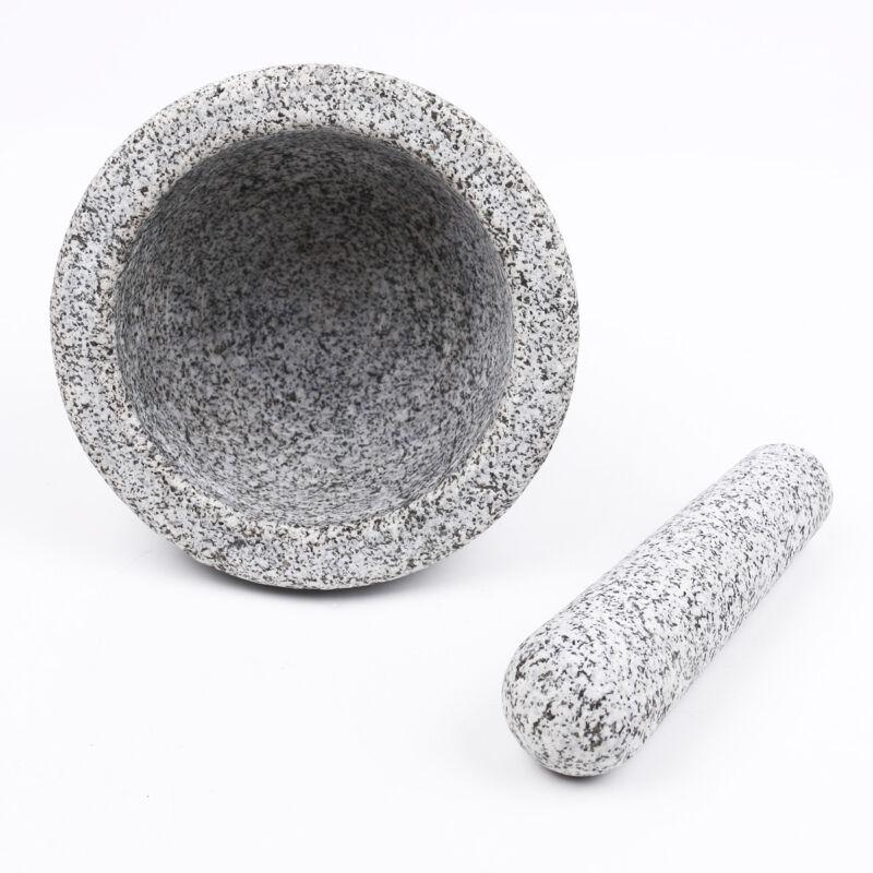 Mörser und Stößel aus Granit Set Robuster massiver Granit Steinmörser 7