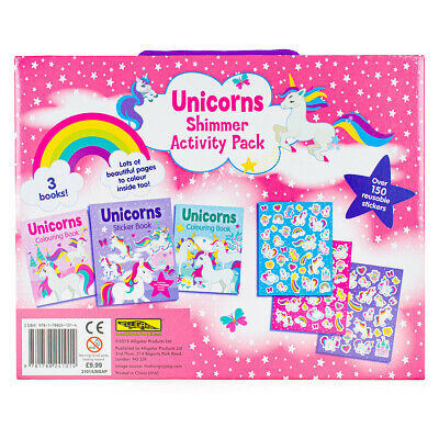 Unicorns Shimmer Activity Pack Kids Colouring Books & Stickers Set 4