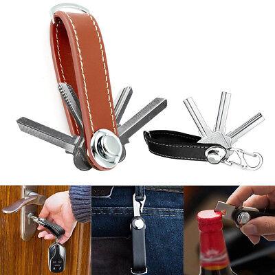 Genuine Leather Key Wallet Holder Organizer Folder Clip Car Keyring Key Chain AU 2