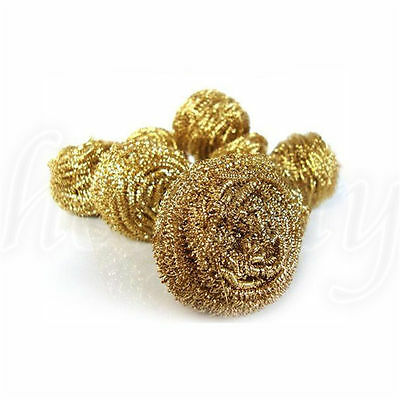 1pc Soldering Solder Iron Tip Cleaner Brass Cleaning Wire Sponge Ball Gold 2