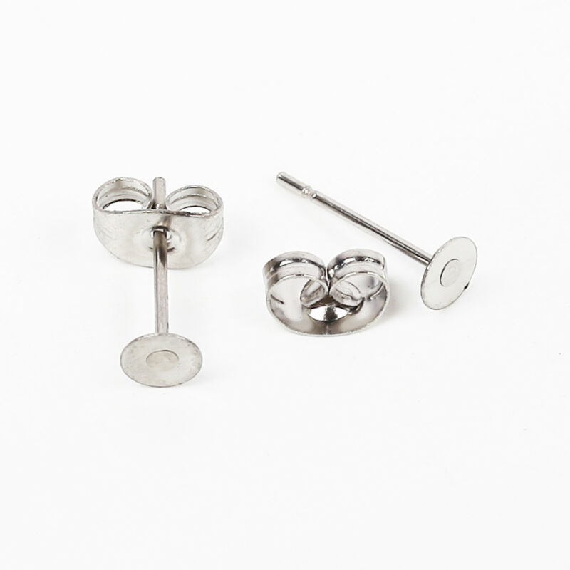 200pcs Flat Stud Earring Post 6/8mm Pads and backs Hypoallergenic Surgical Steel 2