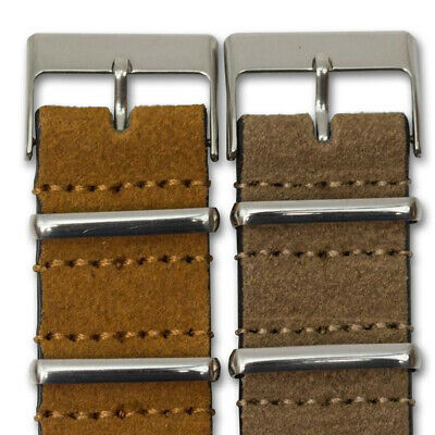 Genuine SUEDE Leather Watch Strap Band NATO G10 Military MoD Zulu brown tan 2
