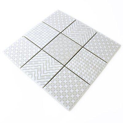 2 Von 4 Keramik Mosaik Fliesen Zement Optik Geo Grau