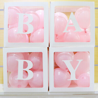 4Pc Boy Girl Baby Shower Party Decorations Transparent Cardboard Box  Xmas Gift 8