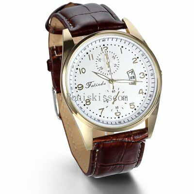 Leather Band Round Quartz Analog Elegant Classic Casual Men's Wrist Watch New 5