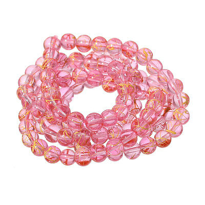 8mm Round Glass beads pink with yellow drizzle, drawbench  ~110 beads bgl1402 3
