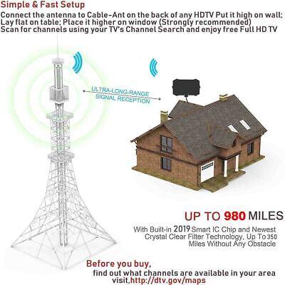 2019 Newest Hdtv Antenna Best 980 Mile Long Range Lesoom Indoor Tv Digital Hq 4K 9