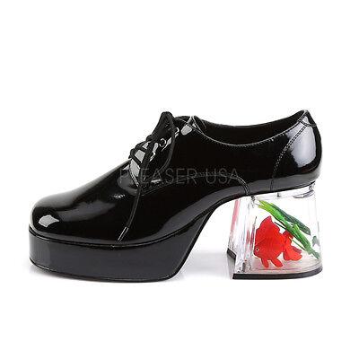 38403466b5be76 ... PIMP02 B Men s Black Platform Disco Pimp Mac Daddy Goldfish Heel  Costume Shoes 4