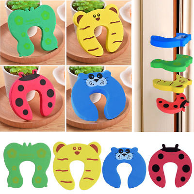 5/10pcs Baby Safety Cartoon Gate Card Security Door Stopper Protector Clip Clamp 2