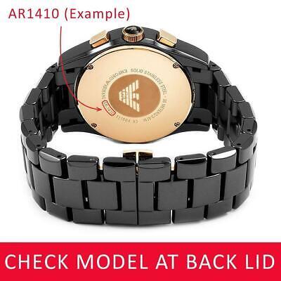 c3cc6652818f ... For EMPORIO ARMANI AR5889 Black Rubber Steel Strap Band Bracelet Watch  23mm 4